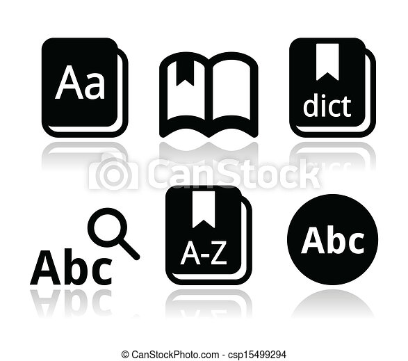 Dictionary book vector icons set - csp15499294