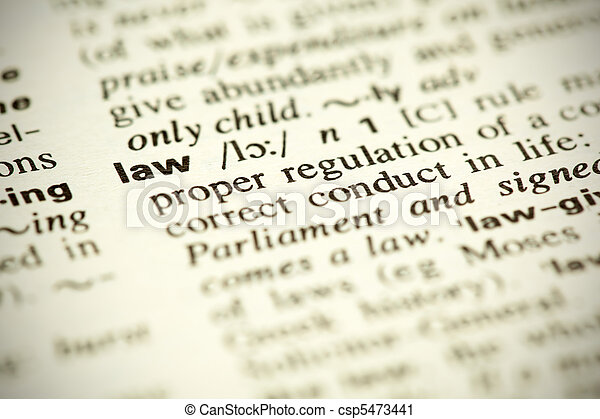 "Dictionary definition of the word ""Law"" - csp5473441"