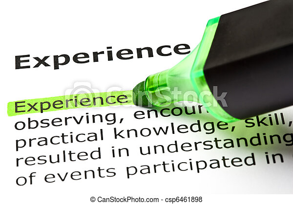Dictionary Definition Of The Word Experience - csp6461898