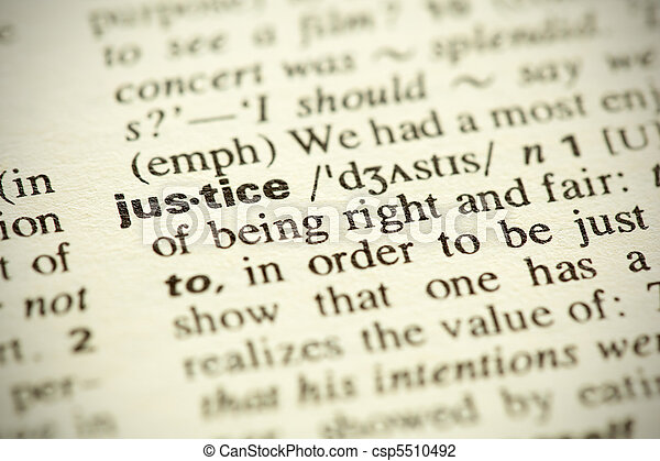 "Dictionary definition of the word ""Justice"" in English - csp5510492"
