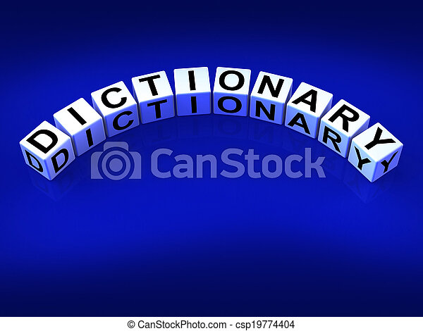 Dictionary Dice Means Meanings Of Words And Reference - csp19774404