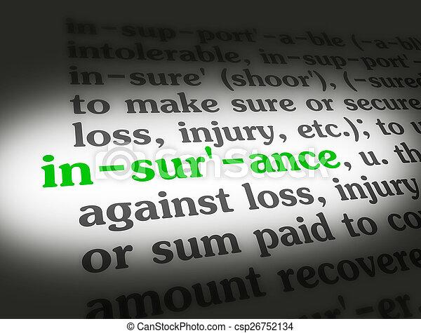 dictionnaire, assurance - csp26752134