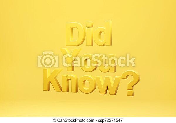 did, know?, rendering., jaune, arrière-plan., vous, 3d - csp72271547
