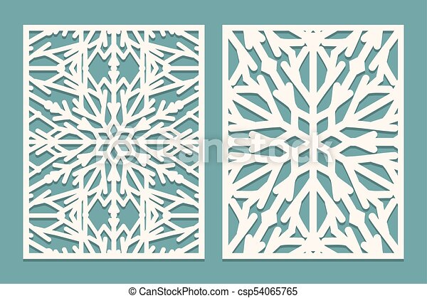 Die and laser cut decorated panels with snowflakes pattern. laser ...