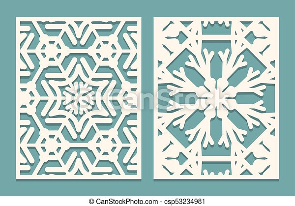 Die and laser cut ornamental panels with snowflakes pattern. laser ...