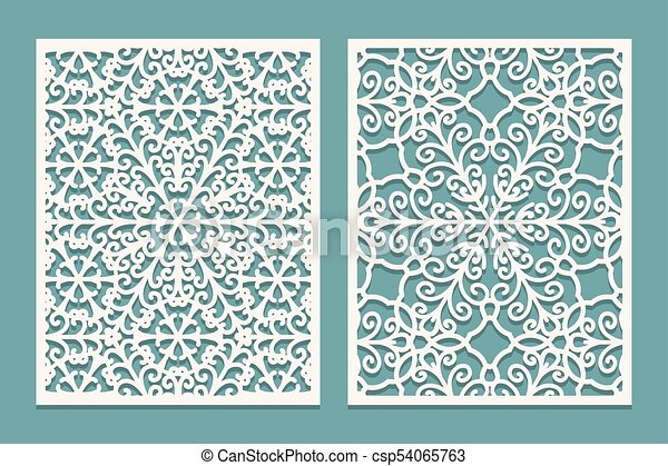 Die and laser cut scenical panels with snowflakes pattern. laser ...