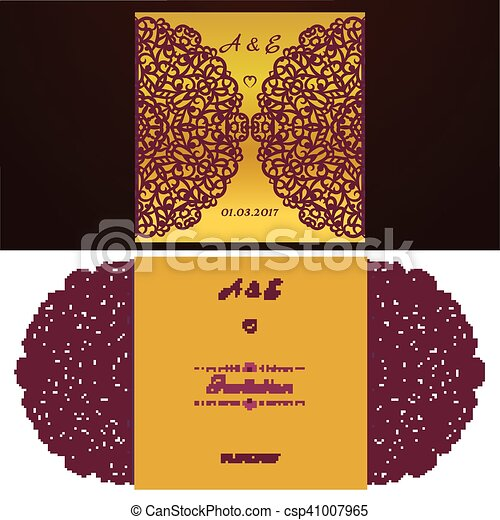 die cut wedding invitation card template paper cut out card with