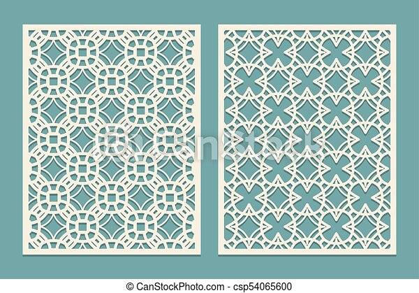 die laser cut panel design with geometric shapes figures template