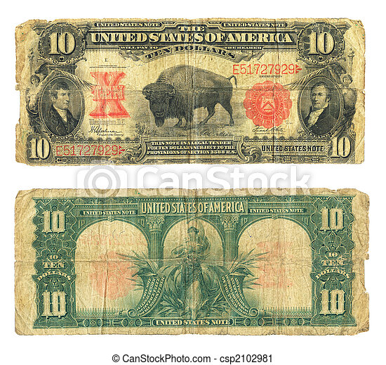 dieci, conto, dollaro, moneta circolante stati uniti, 1901 - csp2102981
