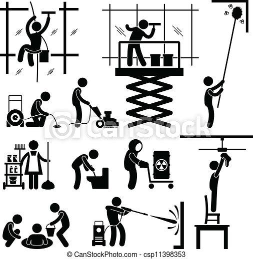 diensten, werk, industriebedrijven, poetsen - csp11398353