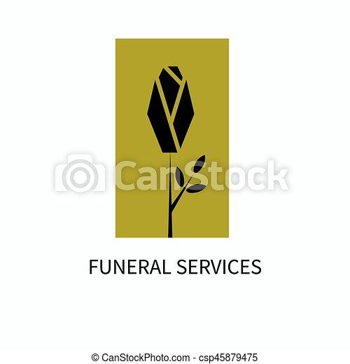 Dienstleistungen, logo, begräbnis. Illustration., gold, rose ...