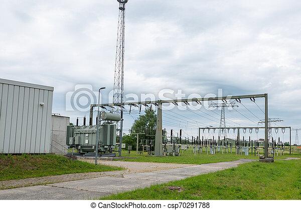 dient, graus, eines, energieversorgungsunternehmens, der, versorgungsnetzes, teil, ist, verbindung, elektrischen, unterschiedlicher, und, umspannwerk, spannungsebenen, ein - csp70291788