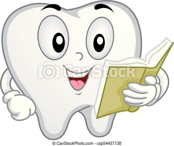 Mascota de dientes leyendo ilustraciones - csp54437138
