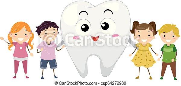 La ilustración de mascotas de los dientes de Stickman - csp64272980