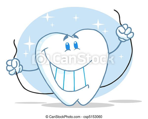 Personaje de dientes con hilo dental - csp5153060