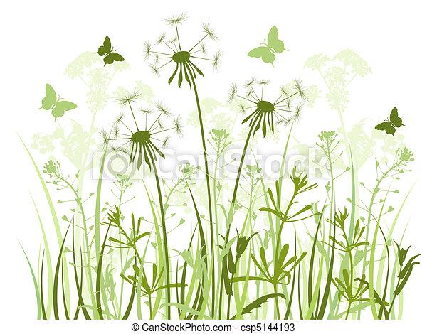 Un fondo floral con hierba y dientes de león - csp5144193