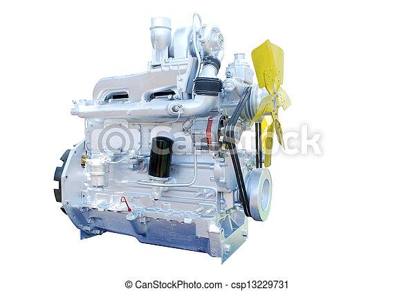 diesel engine isolated on white - csp13229731