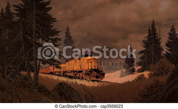 Diesel Locomotive In The Mountains - csp3569023