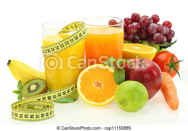 Diet and nutrition. Fresh fruits, vegetables and juice - csp11155885