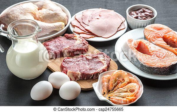 diet:, houten, rauwe, producten, achtergrond, proteïne - csp24755665