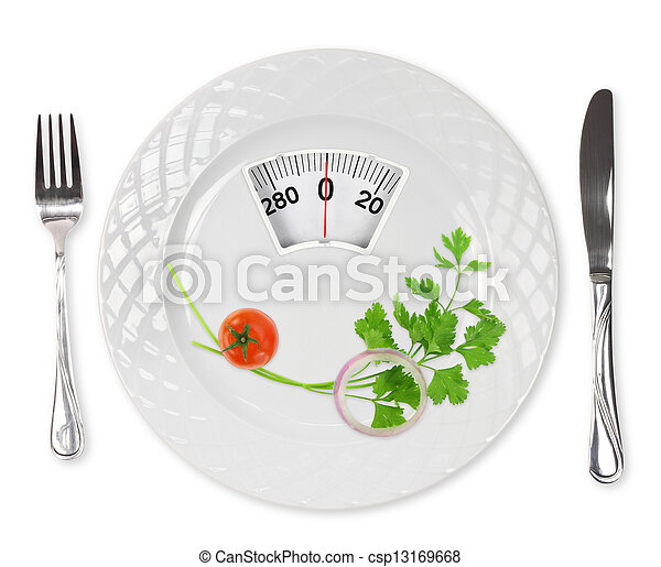 Diet meal. Cherry tomato, parsley and onion in a plate with weight scale - csp13169668