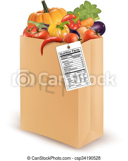 Diet paper bag with vegetables and a nutritional label. Concept of diet. Vector. - csp34190528