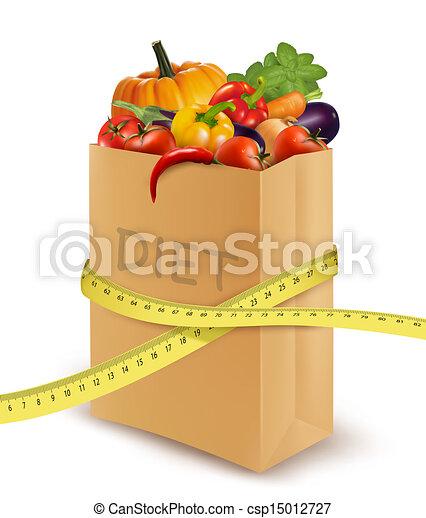 diet., papier, tape., légumes frais, mesurer, sac, vecteur, épicerie, concept - csp15012727