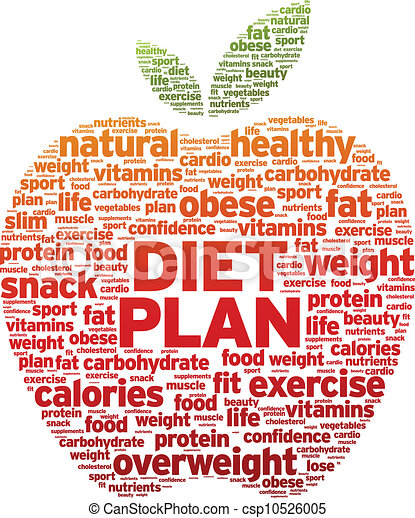 Diet Plan Apple Word Illustration On White Background Vector