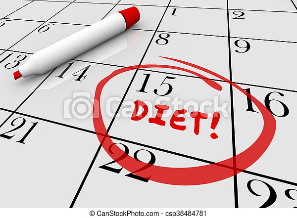 diet start begin eat healthy lose weight calendar 3d