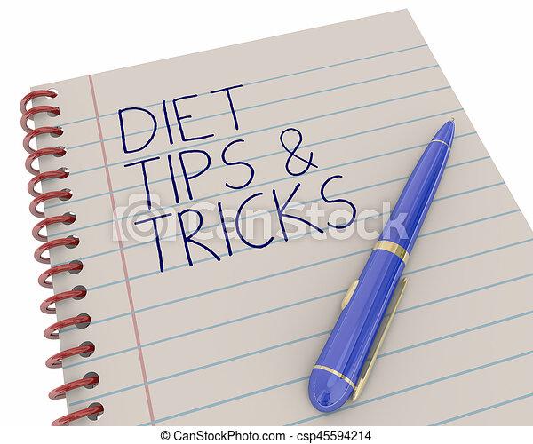 diet tips tricks notepad pen writing words 3d illustration