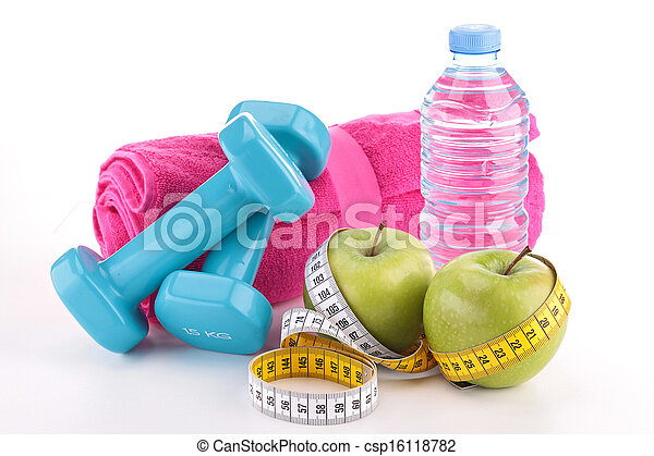 dieting food and fitness equipment - csp16118782