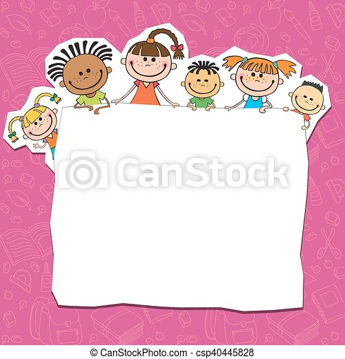 dietro, bambini, cartellone, pigolio, illustrazione - csp40445828