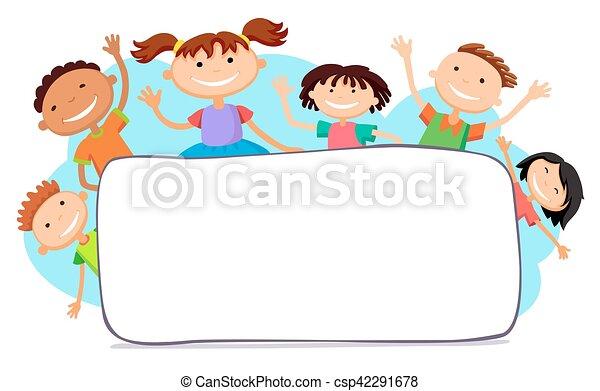 dietro, bambini, cartellone, pigolio, illustrazione - csp42291678