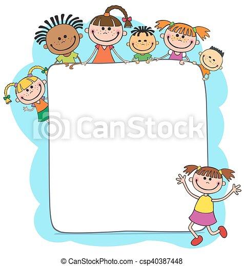 dietro, bambini, cartellone, pigolio, illustrazione - csp40387448