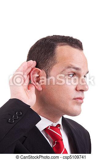 dietro, gesto mano, fondo, isolato, uomo affari, indicatore, bianco, orecchio, ascolto - csp5109741