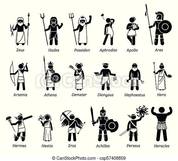 dieux, déesses, ensemble, grec, ancien, icône, mythologie, caractères - csp57408859