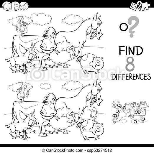 Las diferencias juegan con el libro de colores de animales de granja - csp53274512