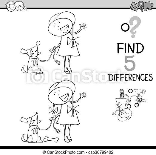 Diferencias, libro colorear, actividad. Colorido, educativo, tarea ...