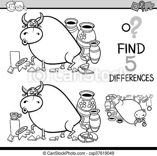 Diferencias, libro colorear, actividad. Tienda, refrán,... vector ...