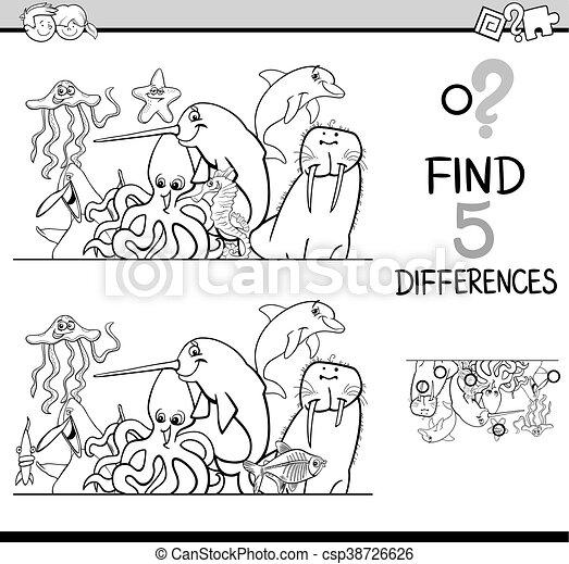 Diferencias, libro colorear, actividad. Colorido, vida, tarea ...