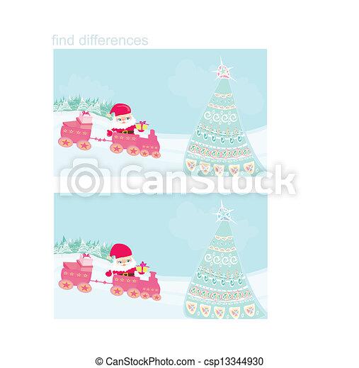 El tren de Navidad de Santa, encuentra diferencias - csp13344930