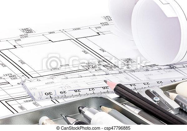 diferente, apartamento, diseñador, herramientas arquitectónicas, dibujo - csp47796885