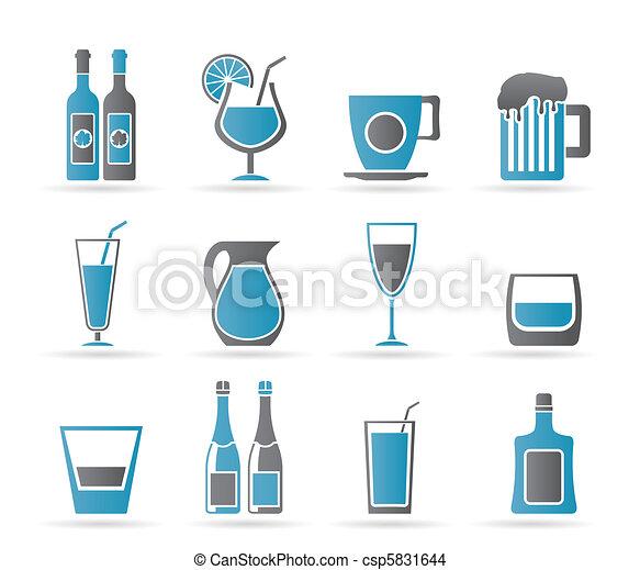 diferente, bebida, clase, iconos - csp5831644