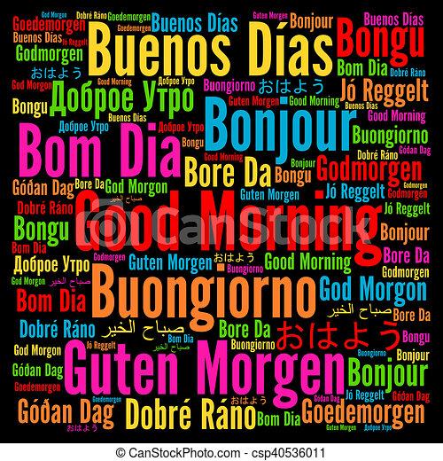 Buenos días en diferentes idiomas.