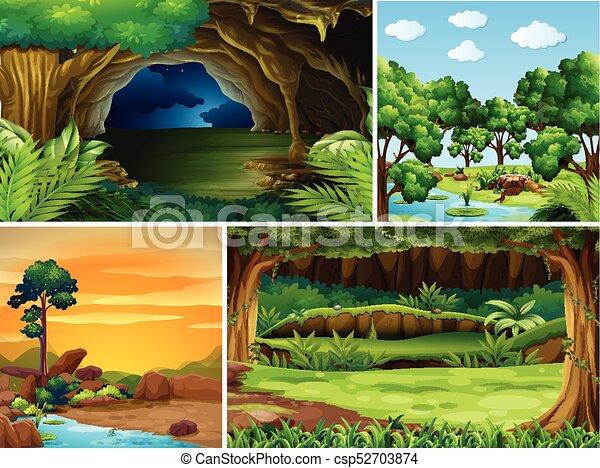 diferente, cenas, quatro, floresta, tempo, dia - csp52703874