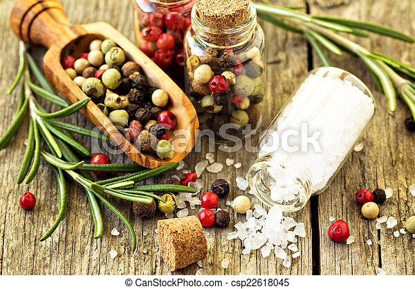diferente, clases, de madera, pimienta, romero, sal de mesa - csp22618045