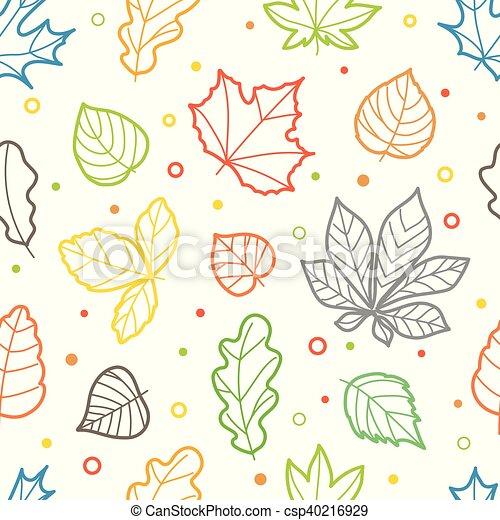Diferente, color, patrón, hojas, seamless, siluetas.