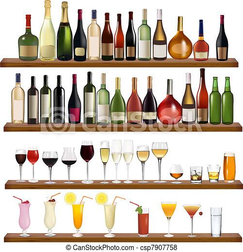 diferente, conjunto, botellas, bebidas - csp7907758