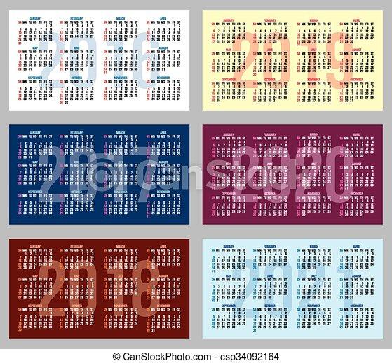 Una serie de patrones con calendarios de diferentes años - csp34092164