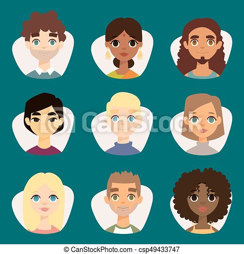 Un conjunto de avatares redondos diversos con rasgos faciales de diferentes nacionalidades ropa y peinados gente personajes ilustración vectorial - csp49433747